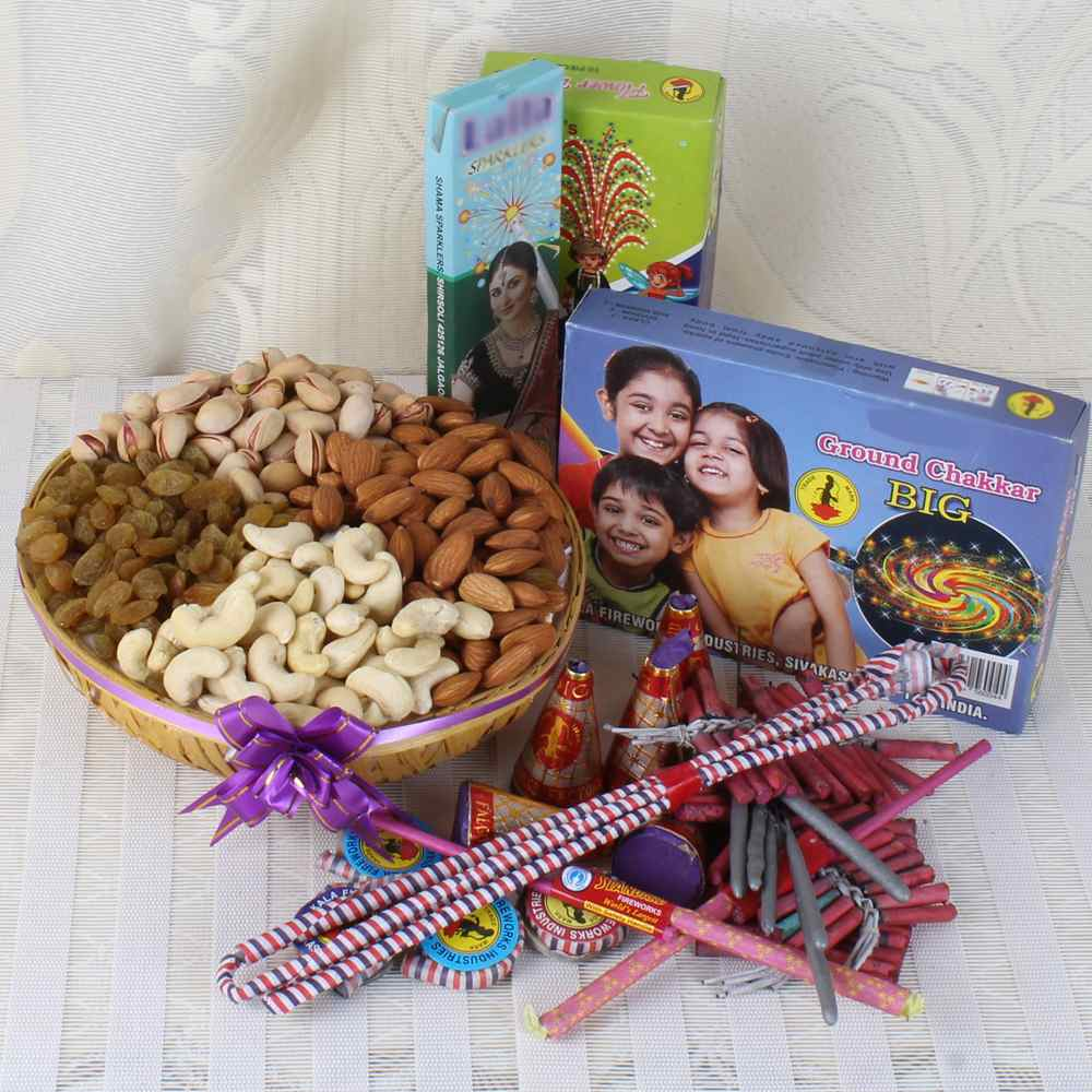 Assorted Dry fruit Basket with Diwali Crackers