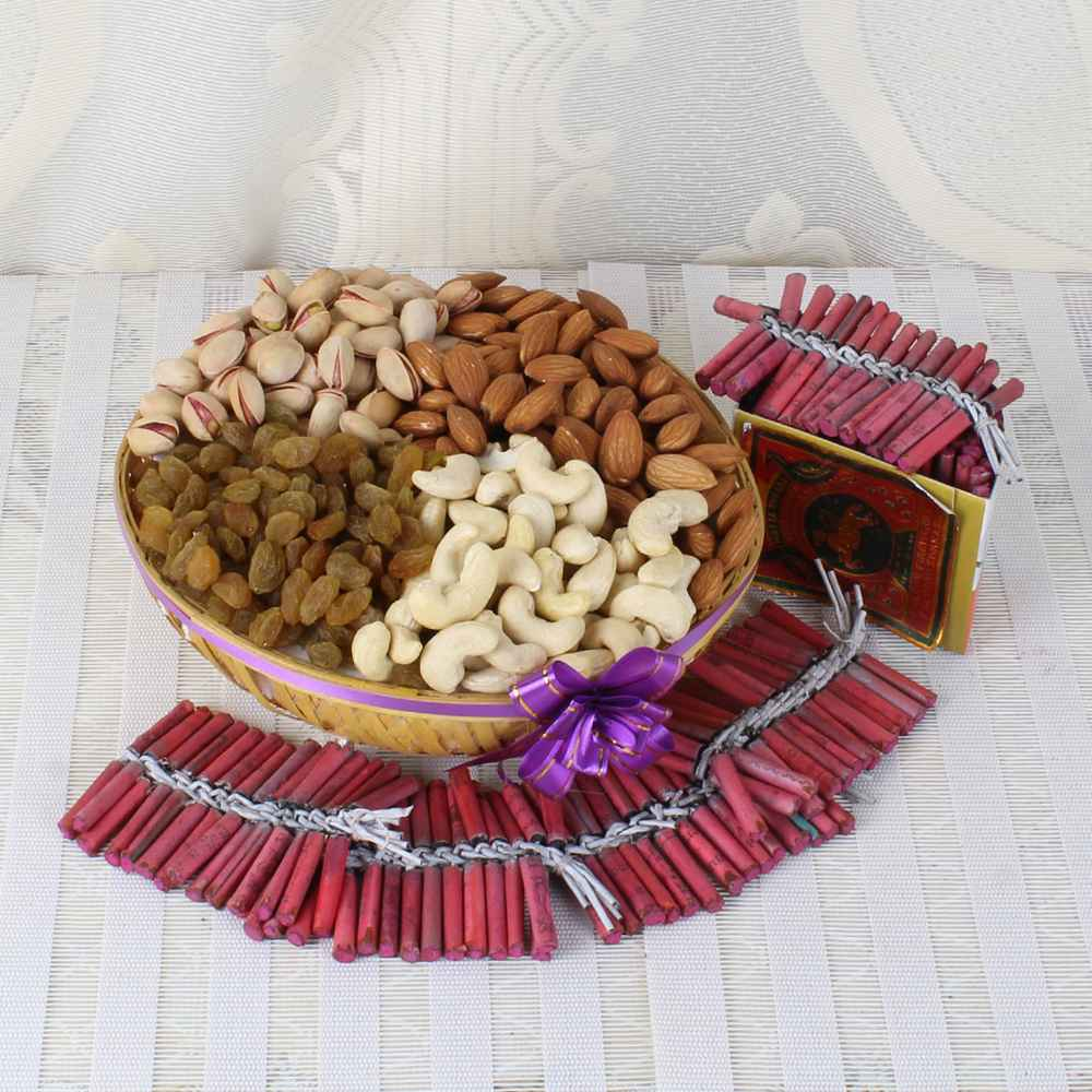 Assorted Dry fruit Basket with Red color Diwali Fire Crackers