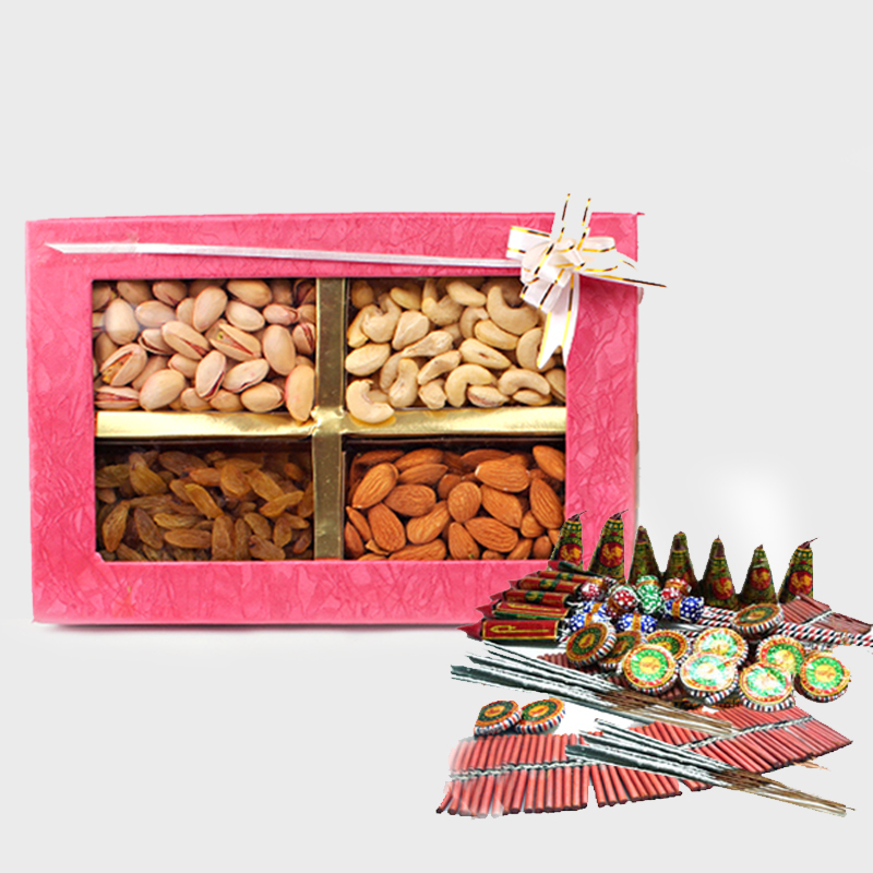 Assorted Dryfruits with Diwali Fire Cracker
