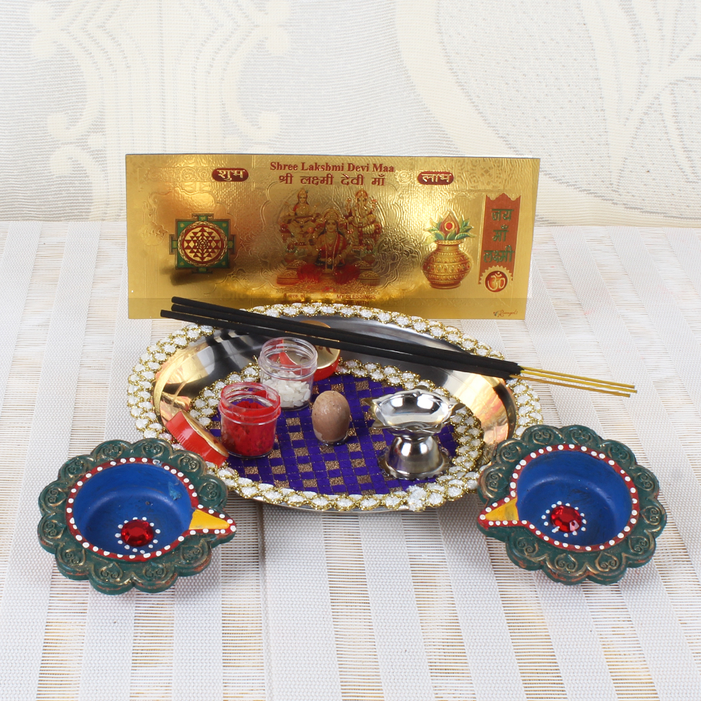 Desinger Diwali Thali and Earthen Diya with Gold Plated Lakshmi Note