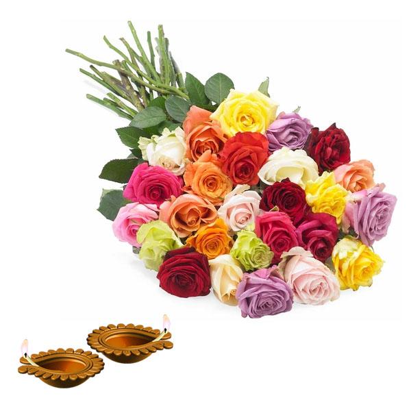 Dipawali Diya and Lovely Roses Bunch