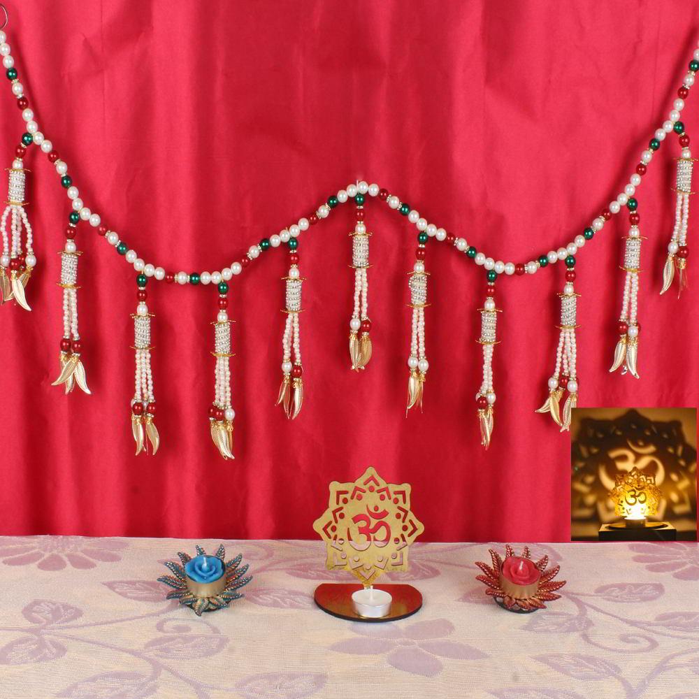 Diwali Acrylic OM Shadow Diya and Decorative Candles with Toran