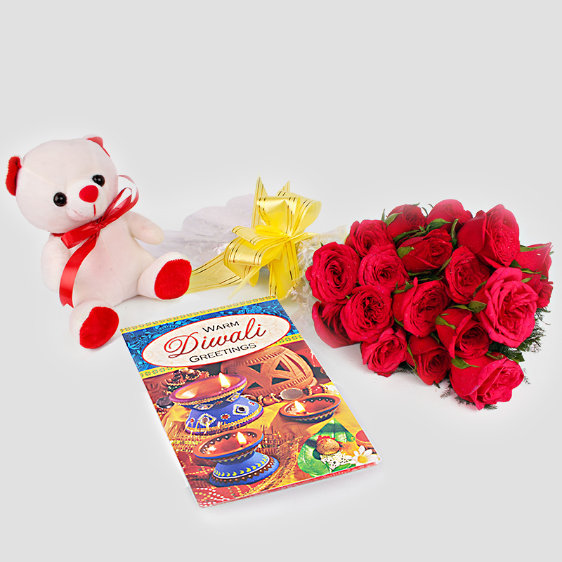 Diwali Card and Red Roses with Teddy Bear