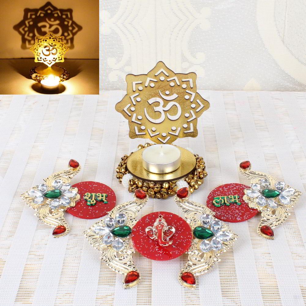 Diwali Door Hanging and Acrylic OM Shadow Diya