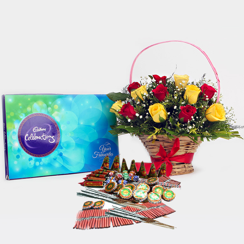Diwali Fire crackers with Basket of Red and Yellow Roses and Cadbury Celebration Chocolate Pack
