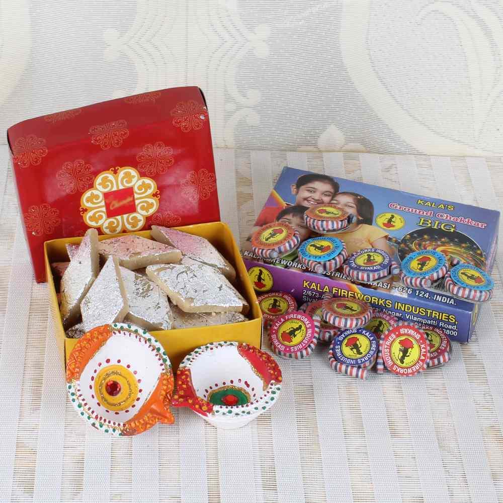 Diwali Kaju Katli Box with Zamin Chakkar cracker and Earthen Diya Set