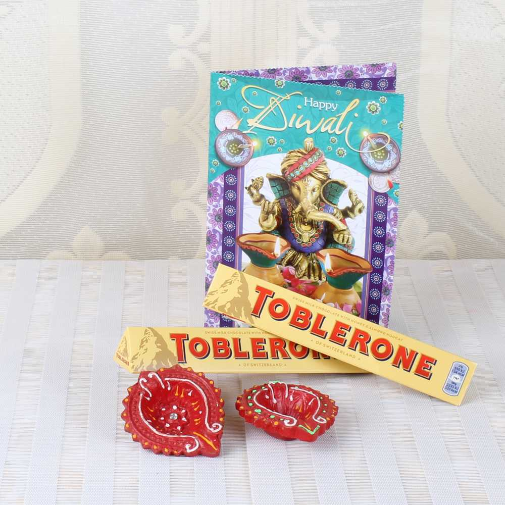 Diwali Toblerone Chocolates with Greeting Card and Earthen Diyas