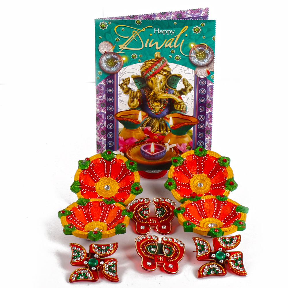 Earthen Diyas with Shubh Swastika and Shubh Pagla with Diwali Wishes Card