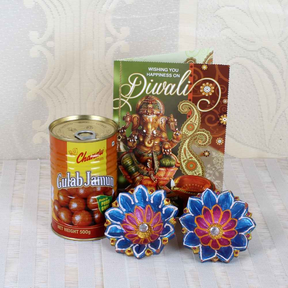Gulab Jamun Sweets with Earthen Diyas and Diwali Greeting Card