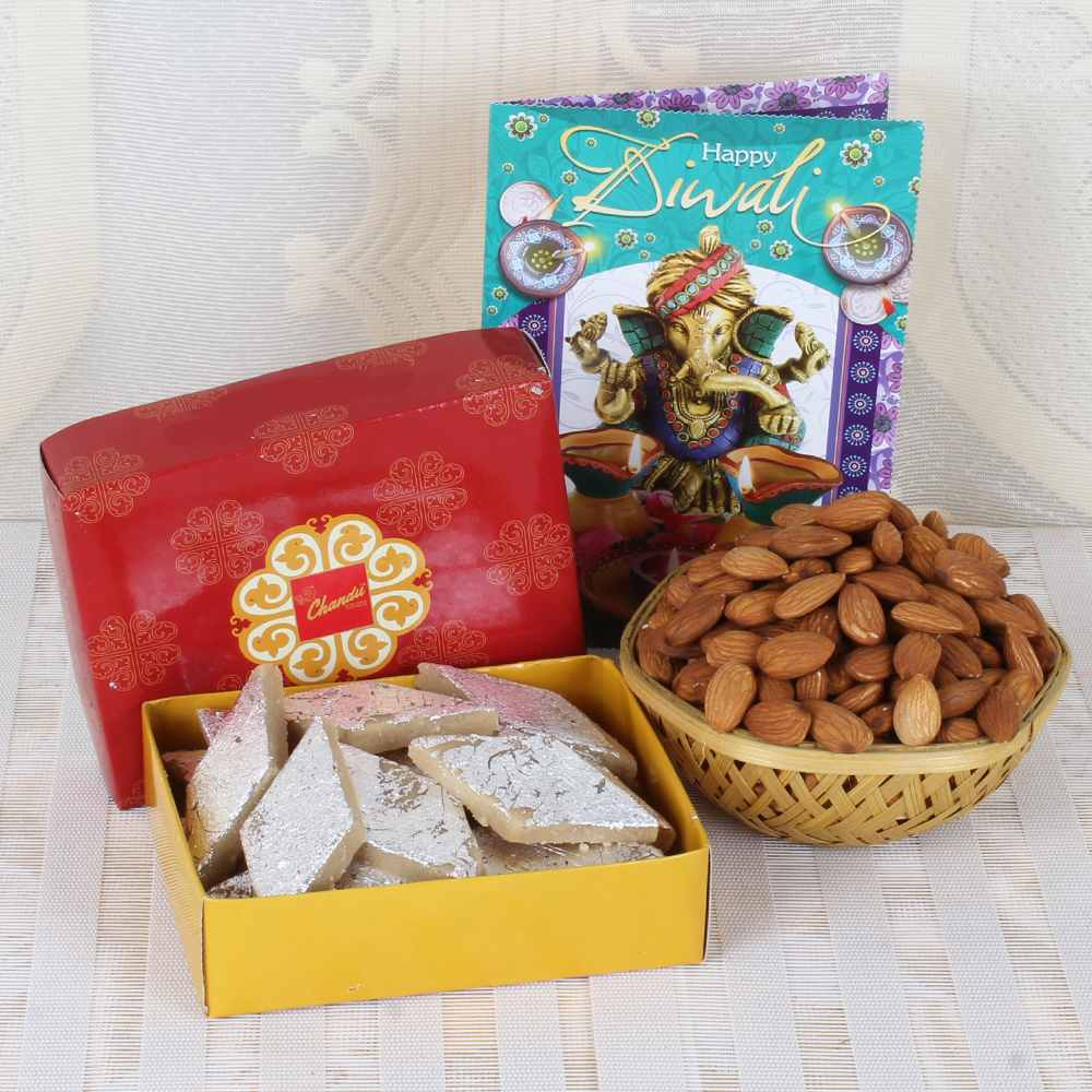Kaju Katli Box with Diwali Greeting Card and Almond Basket