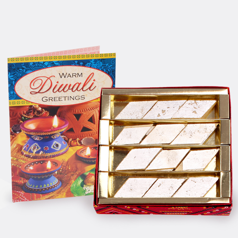 Kaju Katli Sweet with Diwali Card