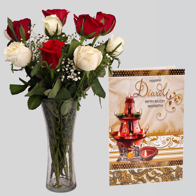 Mix Roses Vase Arrangement with Diwali Card