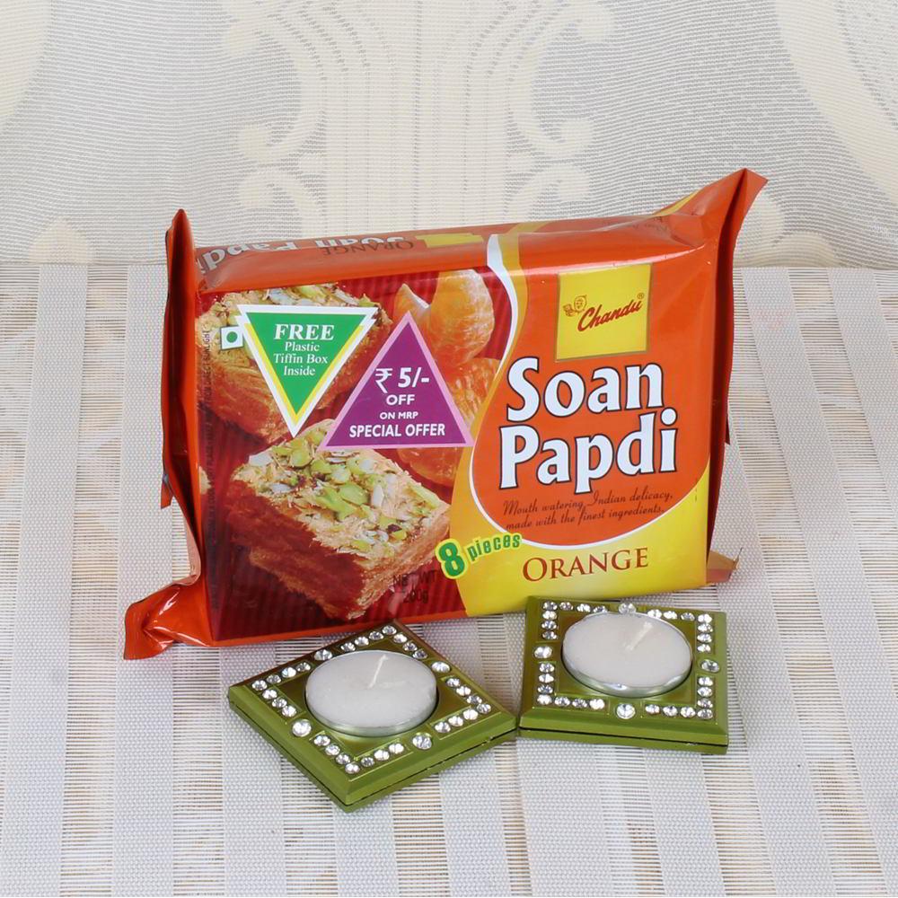 Orange Soan Papdi with Tea light Diya