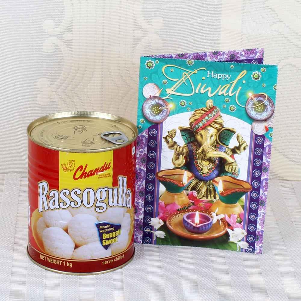Rasgulla Sweet with Diwali Greeting Card