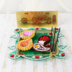 Acrylic Designer Diwali Thali and Earthen Diya with Gold Plated Lakshmi Note