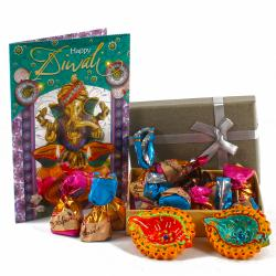 Alpines Imported Assorted Chocolates with Diwali Card and Diyas