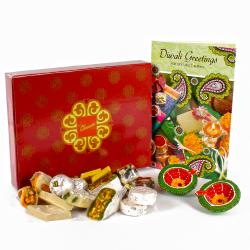 Assorted Dryfruits Sweet with Diwali Card and Designer Diya