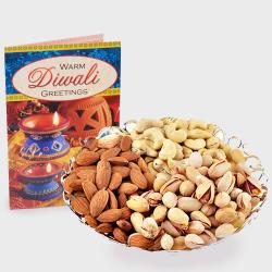 Assorted Dryfruits with Diwali Card