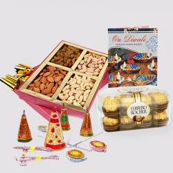 Assorted Dryfruits with Ferrero Rocher Chocolates and Diwali Card and Diwali Fire Cracker