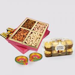 Assorted Dryfruits with Ferrero Rocher Chocolates and Diwali Diya