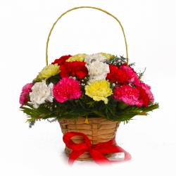 Basket Arrangement of Twenty Colorful Carnations