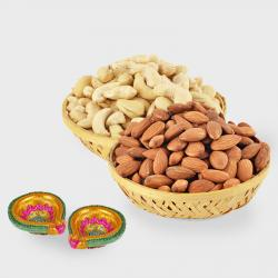 Basket of Cashew Nut and Basket of Almond Nut and Diwali Diya