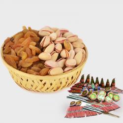 Basket of Raisins and Pista with Diwali Fire Cracker