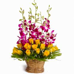 Basket of Yellow Roses with Purple Orchids