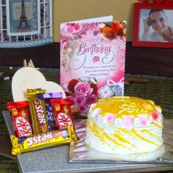 Birthday Card Hamper of Pineapple Cake and Assorted Chocolate Bars
