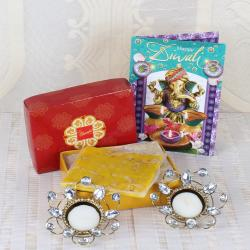 Bombay Halwa Sweets with Diwali Diya and Card