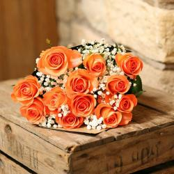 Bright Orange  Roses Bouquet