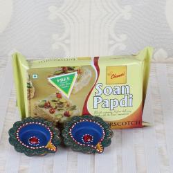 Butterscotch Soan Papdi with Earthen Diya