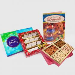 Cadbury Celebration Chocolate Pack with Kaju Katli Sweet and Assorted Dryfruits and Diwali Card