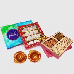 Cadbury Celebration Chocolate Pack with Kaju Katli Sweet and Assorted Dryfruits and Diwali Diya