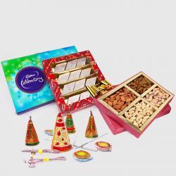 Cadbury Celebration Chocolate Pack with Kaju Katli Sweet and Assorted Dryfruits and Diwali Fire Cracker