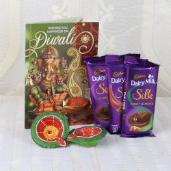 Cadbury Silk Chocolate with Diwali Card and Earthen Diya