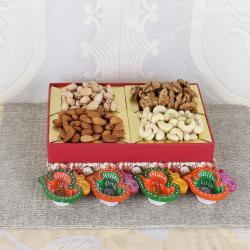 Colorful Earthen Diya and Mixed Dry Fruits