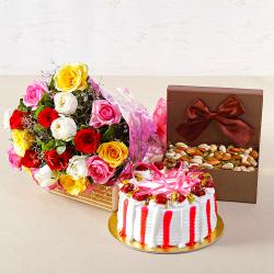 Colorful Roses with Half Kg Strawberry Cake and Assorted Dryfruits Combo