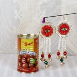 Designer Pearl Beads Shubh Labh with Gulab Jamun