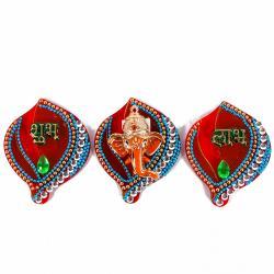 Designer Set of Acrylic Shubh Labh Ganesha Sticker Hanging