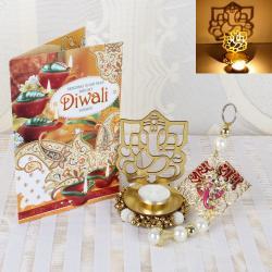 Diwali Acrylic Ganesha Shadow Diya and Hanging with Diwali Card