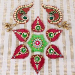 Diwali Acrylic Pattern Rangoli with Shubh Labh Door Hanging