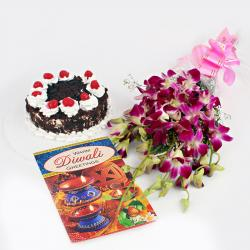 Diwali Card and Black Forest Cake with Orchid Bouquet