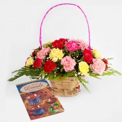 Diwali Card with Basket of Mix Carnations Bouquet