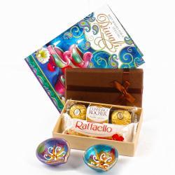 Diwali Chocolate Hamper with Pair of Earthen Diyas