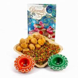 Diwali Greeting Card And Diwali Diya Hamper with Apricot Touch Mouth Freshener Tray