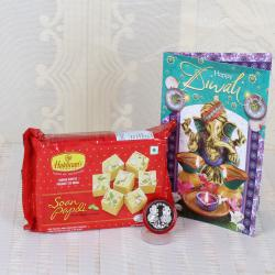 Diwali Greeting with Soan Papdi and Silver Coin