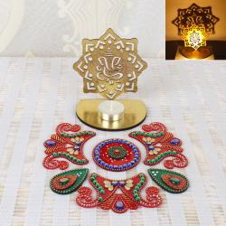Diwali Pattern Rangoli with Ganesha Shadow Diya