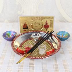 Diwali Pooja Thali with Kuber Lakshmi Note and Earthen Diya