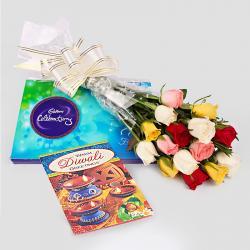 Diwali Special Roses bunch with Diwali  Card with  Cadbury Celebration Chocolates